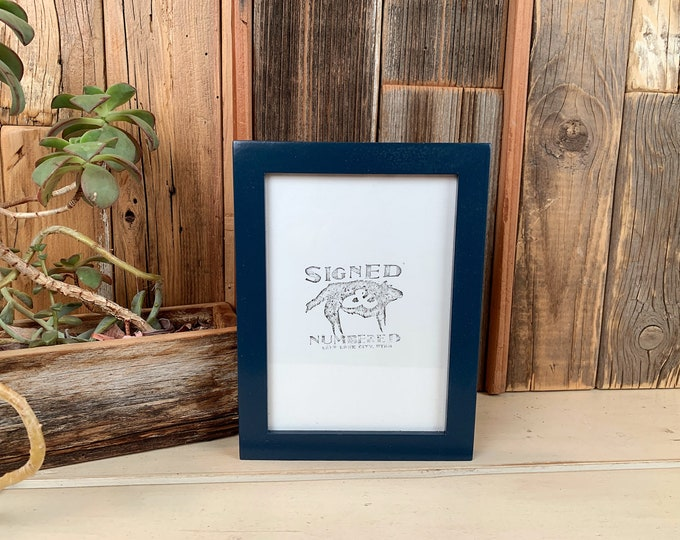 """5x7"""" Picture Frame in PeeWee Style with Solid Navy Blue Finish - Same Day Shipping - IN STOCK - Gallery Frame 5 x 7 Blue"""