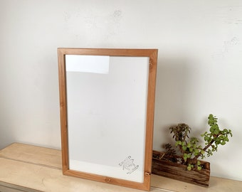 "13x19"" Picture Frame in 1x1 Flat Style on Knotty Alder with Solid Natural Finish - IN STOCK - Same Day Shipping - 13 x 19 Frame"