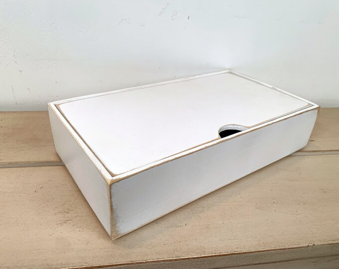 Keepsake Box with Lid Handmade Solid Wood Desktop Box with Vintage White Wash Finish - gift, storage, organizer IN STOCK - Same Day Shipping