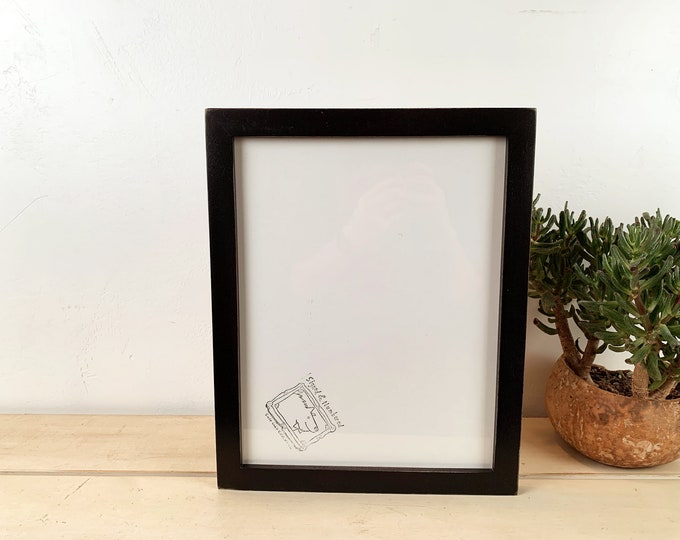 """10x13"""" Picture Frame in 1x1 Flat Style with Vintage Black Finish - IN STOCK - Same Day Shipping - Handmade 10 x 13 Solid Hardwood"""