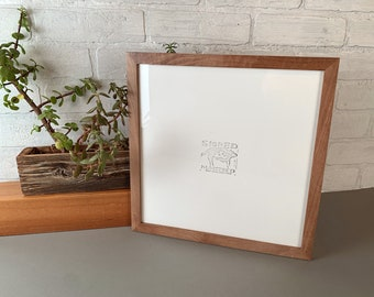 """12x12"""" Picture Frame in Peewee Style with Solid Natural Walnut Finish - IN STOCK - Same Say Shipping - Handmade 12 x 12 Photo Frame"""