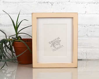 8x10 Picture Frame in 1x1 Flat Style with Vintage Ivory Anitque White Finish - IN STOCK - Same Day Shipping - Rustic Solid Wood Frame 8 x 10