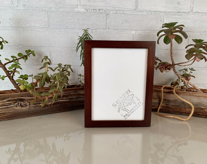 6x8 inch Picture Frame in Peewee Style with Solid Dark Wood Tone Finish - IN STOCK - Same Day Shipping - 6 x 8 Thin Wood Photo Frame