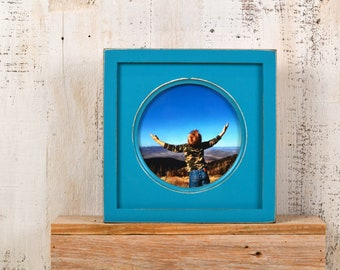 6x6 inch Circle Opening Photo Picture Frame with Deep Flat Build up with Vintage Turquoise Finish - IN STOCK - Same Day Shipping 6 x 6