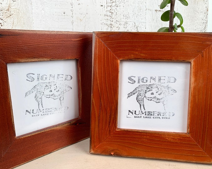 4x4 Reclaimed Wood Picture Frame with Super Vintage Burnt Orange Wood Tone Finish - IN STOCK - Same Day Shipping - 4 x 4 Cedar Frame