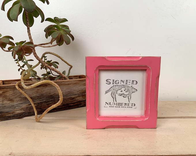 4x4 Square Photo Frame in 1x1 Shallow Bones Style with Vintage Pink Finish - IN STOCK Same Day Shipping - 4 x 4 Photo Frames