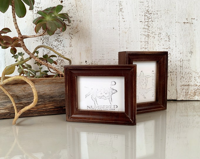 """3x4"""" Photo Picture Frame in Foxy Cove Style with Vintage Dark Wood Tone Finish - IN STOCK -  Same Day Shipping - 3x4 Wallet Size Frame"""
