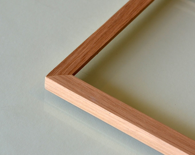 Natural OAK Picture Frame in Peewee style- Choose Size: 2x2 up to 11x14 - solid hardwood, mid century, modern, minimal