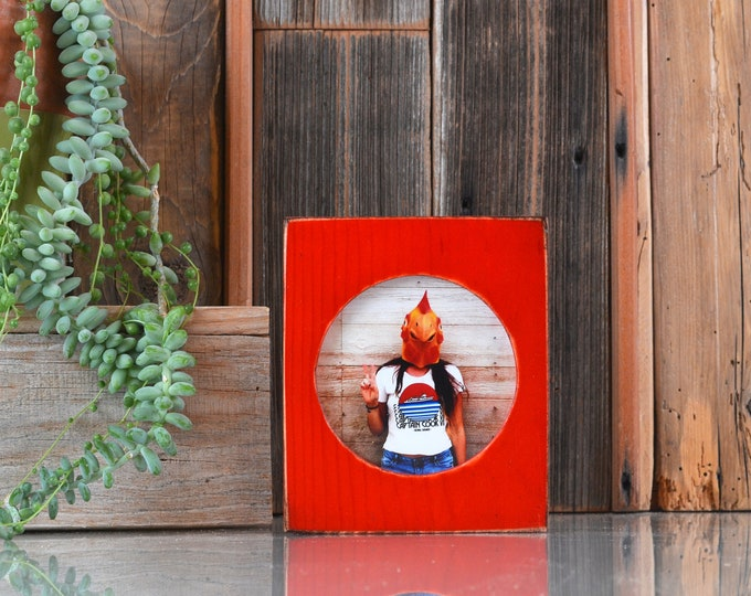 4x4 Pine Circle Opening Picture Frame in Vintage Red Dye - IN STOCK - Same Day Shipping - 4 x 4 inch Circle Round Picture Frame