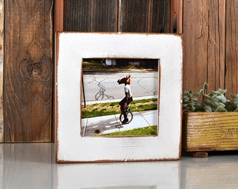 "5x5"" Square Picture Frame in Reclaimed Cedar with Super Vintage White Finish - IN STOCK - Same Day Shipping - 5 x 5 Reclaimed White"