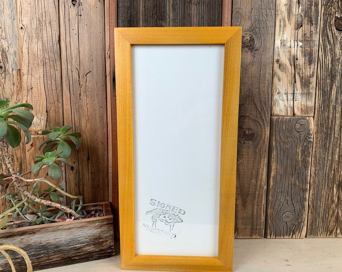 """6x14"""" Panoramic Picture Frame in 1x1 Flat Style on Alder with Solid Honey Dye Finish - IN STOCK - Same Day Shipping - 14 x 6 inch Frame"""