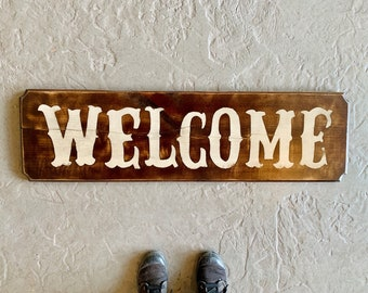Large Wooden WELCOME Sign - Wall Hanging Solid Wood - Classic Western Font with Dark Wood Tone Finish - Handmade Signs Hand painted