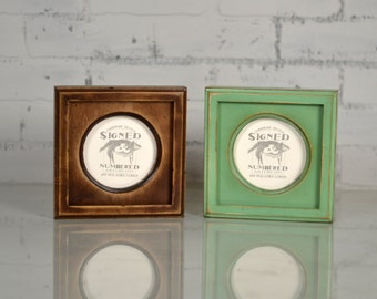 4x4 Circle Opening Picture Frame with Outside Cove Build up Edge and in COLOR of YOUR CHOICE - 4 x 4 inch Circle Round Picture Frame