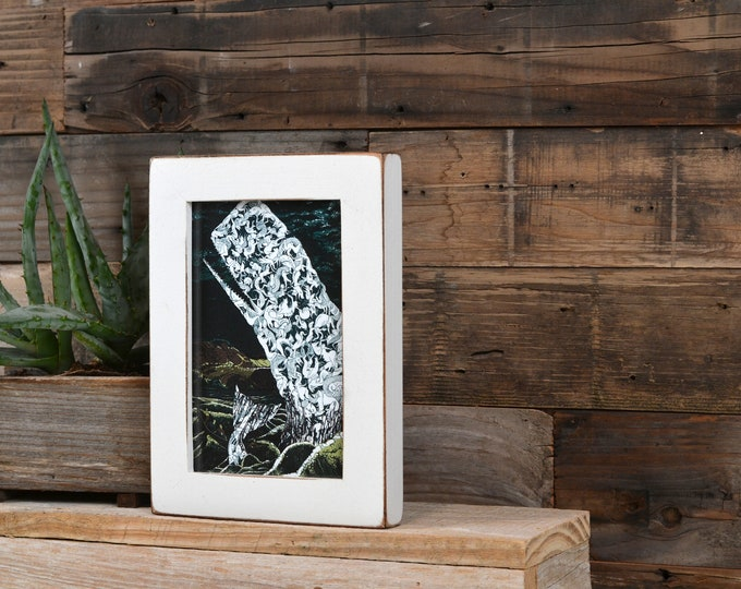 4x6 Picture Frame in 1x1 Flat Style with Vintage White Finish - Holiday Gift IN STOCK - Same Day Shipping - 4 x 6 Photo Frame White