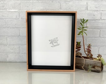 """11x14 """"Park Slope Plus"""" Build Up Frame with Solid Black and Natural Alder Wood Finish - 11 x 14 Photo Frame - IN STOCK - Same Day Shipping"""