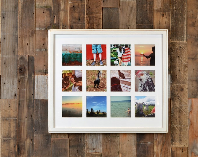 """Collage Frame 19.25 x 16.5"""" 1x1 Outside Cove Style with Mat Windows for (12) 4x4 Photos in Vintage White Finish - Same Day Shipping"""
