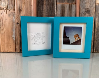 Picture Frame for Instant Camera Print in 1x1 Flat Style with Solid Turquoise Finish 4.75x5.5 inch Frame - IN STOCK - Same Day Shipping