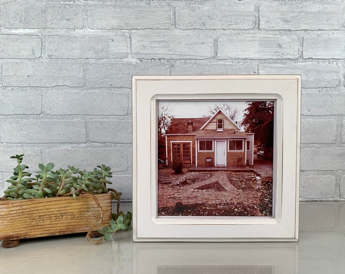 8x8 Square Picture Frame in Wide Double Cove Style with Vintage White Finish - IN STOCK Same Day Shipping - 8 x 8 Photo Frame