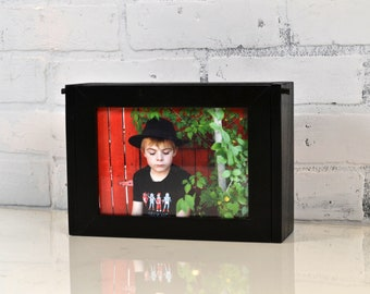 Handmade Wooden Keepsake Box w/ 5x7 Picture Frame Lid - Pencil /Jewelry Wooden Box Picture Frame for 5 x 7 Photograph - Can Be ANY COLOR