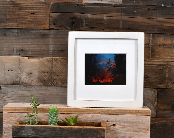 """7x7"""" Square Picture Frame in Peewee Style with Vintage White Finish - IN STOCK - Same Day Shipping - 7x7 Photo Frame Rustic White Paint"""