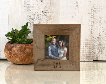 4x4 Square Frame Custom Engraved with Your Message - Picture Frame Romantic Personalized Engraving 4 x 4  Reclaimed Natural Wood Frame