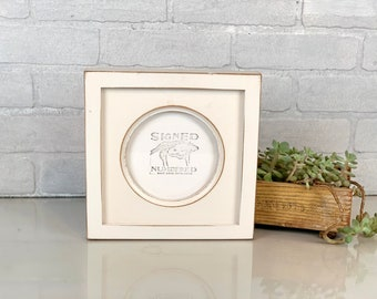 """5x5 inch Circle Opening Photo Picture Frame with Deep Flat Build up with Vintage White Finish - IN STOCK - Same Day Shipping 5 x 5"""""""