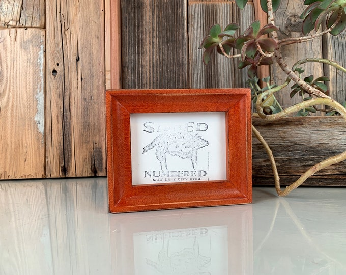 """3x4"""" Photo Picture Frame in Foxy Cove Style with Vintage Wood Tone Finish - IN STOCK -  Same Day Shipping - 3x4 Wallet Size Picture Frame"""