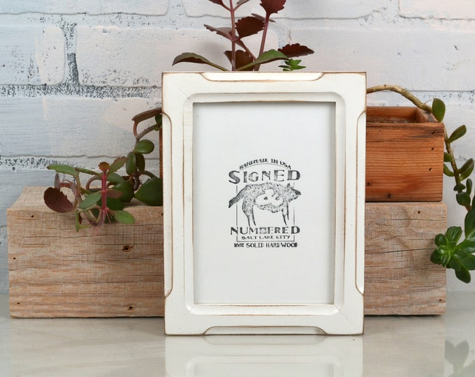 """5x7"""" Picture Frame in Shallow Bones Style with Vintage White Finish - IN STOCK - Same Day Shipping - 5 x 7 Photo Frame White"""