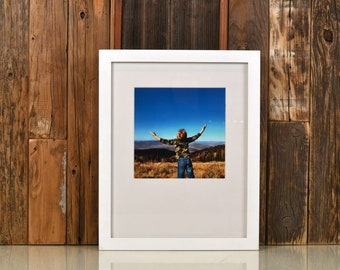 "11x14"" Picture Frame in 1x1 Flat Style with Solid White Finish - IN STOCK - Same Day Shipping - Handmade 11 x 14 Solid Hardwood"