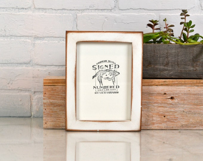 5x7 inch Picture Frame in 1x1 Flat Style on Alder with Super Vintage White Finish - IN STOCK - Same Day Shipping - 5 x 7 Photo Frame