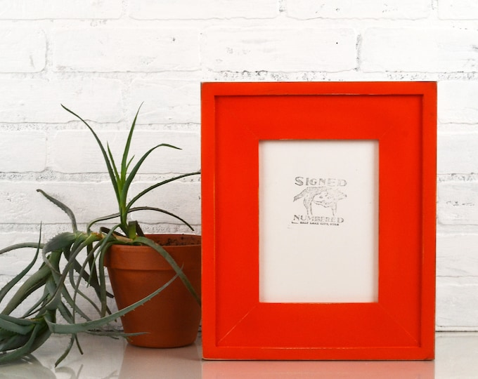 """6x8"""" Picture Frame in Cottage Style with Vintage Deep Orange Finish - IN STOCK - Same Day Shipping - 6 x 8 inch Picture Frames Wide Orange"""