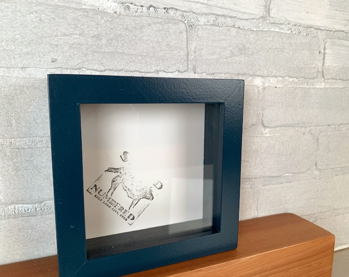 "6x6 Shadow Box Frame with Solid Navy Blue Finish Holds up to 1.5"" deep - IN STOCK - Same Day Shipping - 6x6 Shadowbox Frames"