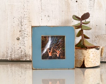 """4x4 Square Picture Frame in 1.5 inch Standard Style with Super Vintage Smokey Blue Finish - IN STOCK - Same Day Shipping Frame Blue 4 x 4"""""""
