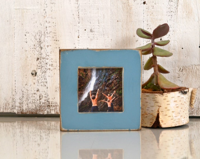 4x4 Square Picture Frame in 1.5 inch Standard Style with Super Vintage Smokey Blue Finish - IN STOCK - Same Day Shipping Frame Blue 4 x 4""