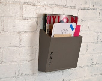 Handmade Modern Mail Holder - Wall Mounted - in Color OF YOUR CHOICE - Wooden Wall Unit - Mail Storage - Organizer