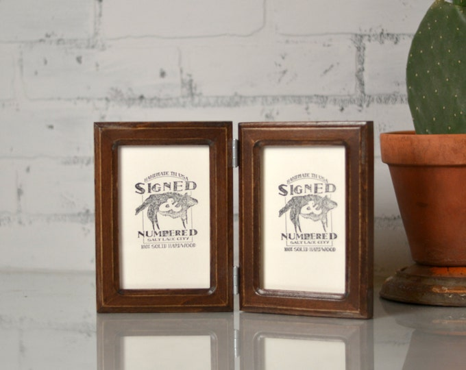 """Two 4x6"""" PORTRAIT or LANDSCAPE Orientation Picture Frames in Double Cove Style Hinged Together in Color of Your Choice - Double Frame 4x6"""