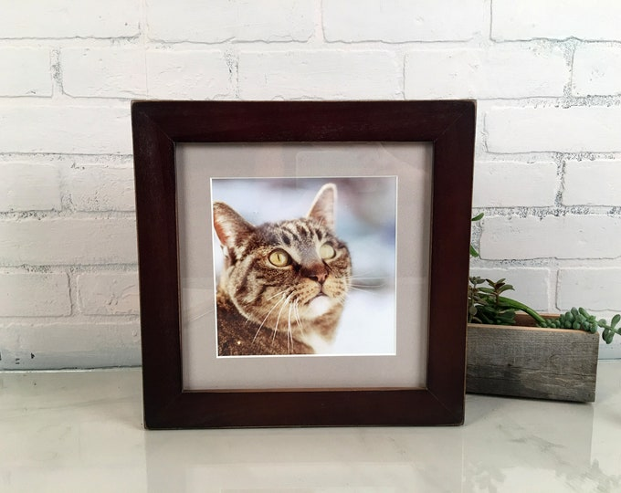 """10x10"""" Square Picture Frame in 1.5 Standard Style on Poplar with Vintage Dark Wood Tone Finish - IN STOCK - Same Day Shipping - 10x10 Frame"""
