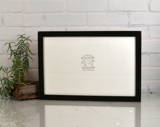 """11x17 Picture Frame in 1x1 Flat Style with Vintage Black Finish - Handmade 11 x 17"""" Photo Frame - IN STOCK - Same Day Shipping"""