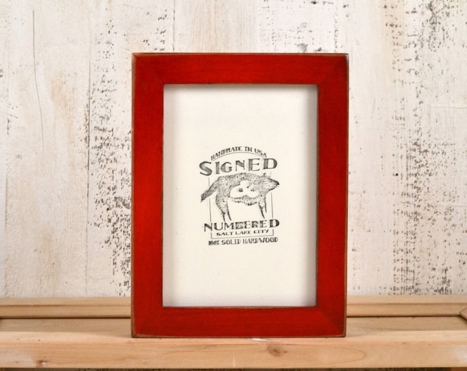 5x7 inch Picture Frame in 1x1 Flat Style with Vintage Red Dye Finish - IN STOCK - Same Day Shipping - 5 x 7 Photo Frame Red