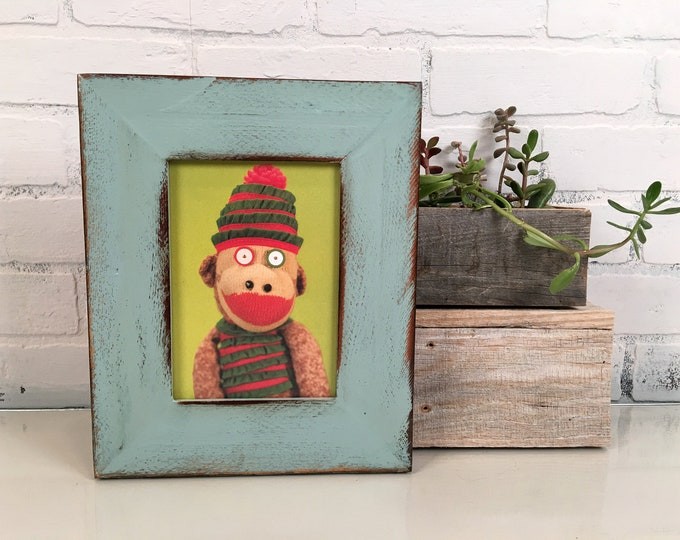 "5x7"" Picture Frame in 2.25 Reclaimed Redwood with Super Vintage Homestead Green Finish Valentine's Day Gift 5 x 7 IN STOCK Same Day Shipping"