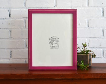 """10x13"""" Picture Frame in 1x1 Outside Style with Vintage Cerise Pink Finish - IN STOCK - Same Day Shipping - Handmade 11 x 14 Solid Hardwood"""