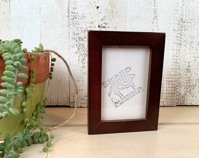 4x6 Picture Frame in 1x1 Flat Style with Vintage Dark Wood Tone Finish - IN STOCK - Same Day Shipping - mid century decor 4 x 6 Photo Frame