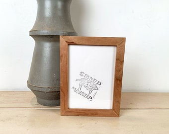 "5x7"" Picture Frame in PeeWee Style with Natural Cherry Finish - IN STOCK - Same Day Shipping - Gallery Frame 5 x 7 Solid Hardwood"