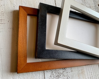 """5x15"""" Picture Frame - BEST SELLERS - 1x1 Flat Style - Choose Your Color - 5 x 15 inch Solid Hardwood- Ships ASAP - Frames On Sale"""