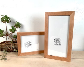 """6x12"""" Panoramic Picture Frame 1x1 Flat Style with Solid Natural Alder Finish - IN STOCK - Same Day Shipping - 6 x 12 inch Picture Frames"""