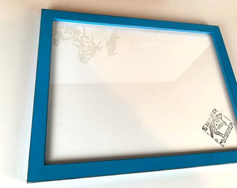 12x16 Picture Frame - SHIPS TODAY - 1x1 Flat Style with Vintage Cobalt Blue Finish 12 x 16 Frame - includes plexiglass - In Stock