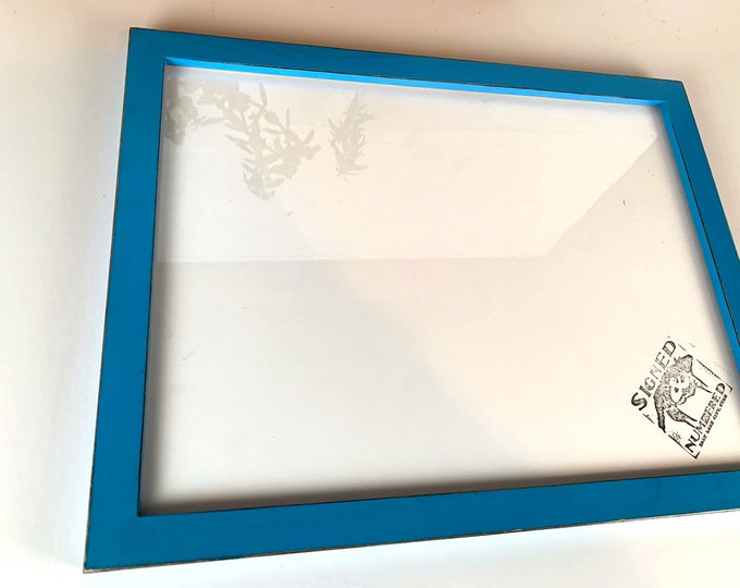 12x16 Picture Frame in 1x1 Flat Style with Vintage Cobalt Blue Finish 12 x 16 Frame - includes plexiglass - IN STOCK Same Day Shipping