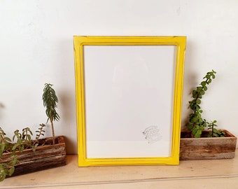 """11x14"""" Picture Frame - SHIPS TODAY - 1x1 Shallow Bones Style with Vintage Yellow Finish - In Stock - Handmade 11 x 14 Frame"""