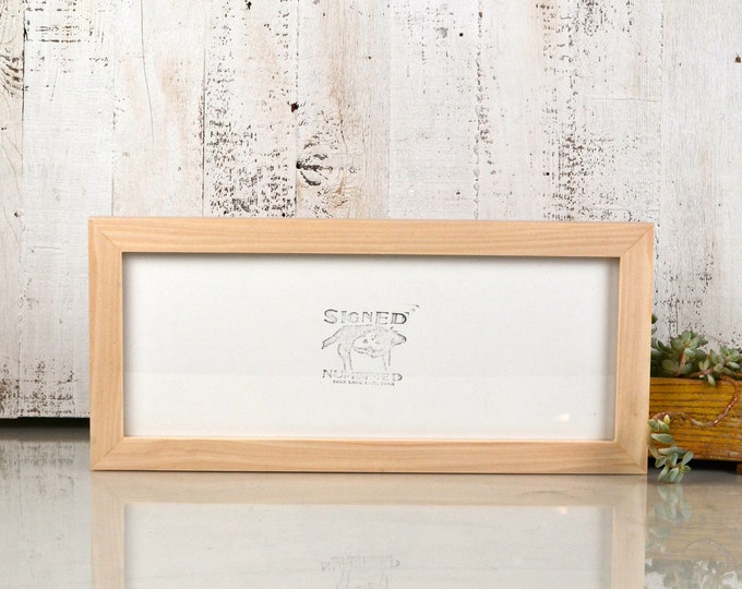 """5x15"""" Picture Frame in 1x1 Flat Style with Solid Natural Poplar Finish - IN STOCK - Same Day Shipping - 15 x 5 Panoramic Photo Frame"""