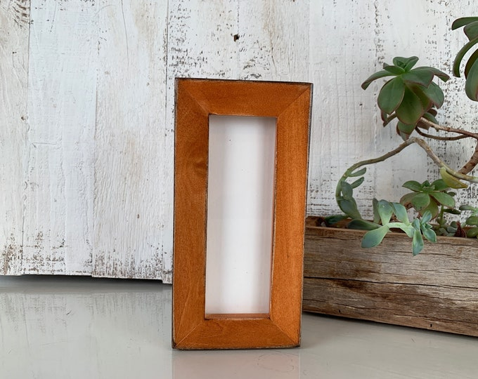 """Photo Booth Frame for 2 x 6"""" Picture Strip in 1x1 Flat Style with Super Vintage Wood Tone Finish - In Stock - Same Day Shipping - 2x6 Size"""